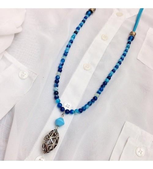 Blue agate stone necklace-necklace